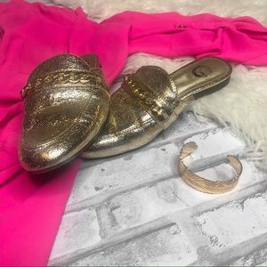 G by Guess Gold Foil Mules